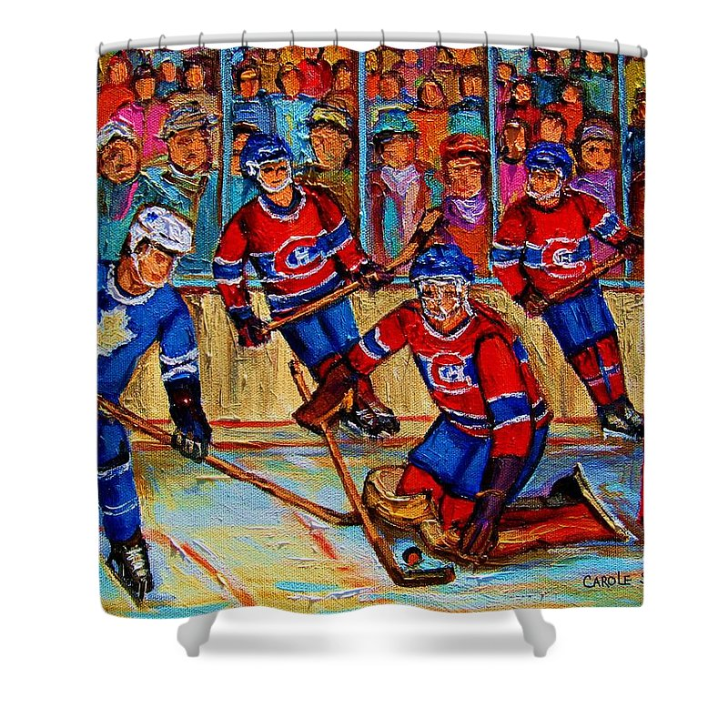 Hockey Shower Curtain featuring the painting Hockey Hero by Carole Spandau