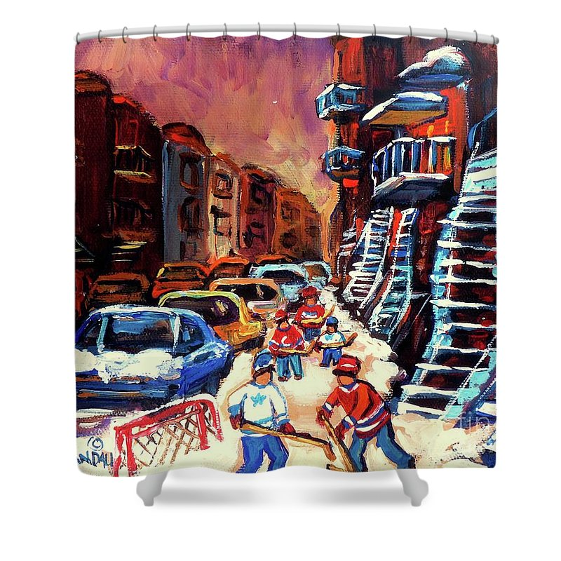 Montreal Shower Curtain featuring the painting Hockey Paintings Of Montreal St Urbain Street Winterscene by Carole Spandau
