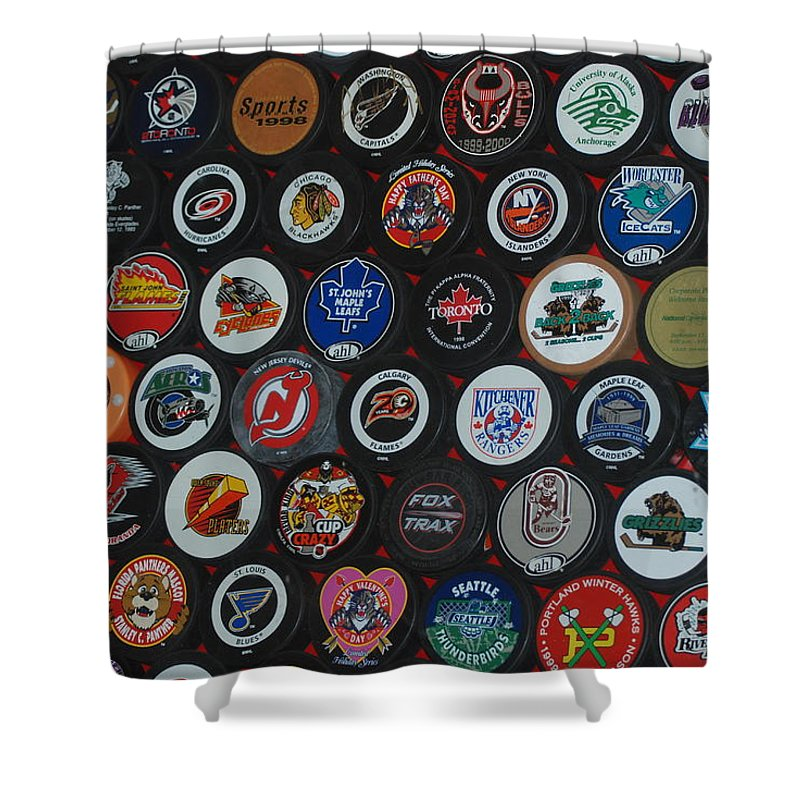 Pop Art Shower Curtain featuring the photograph Hockey Pucks by Rob Hans