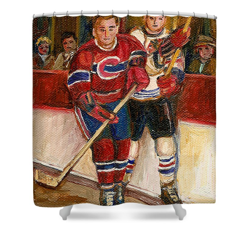 Hockey Shower Curtain featuring the painting Hockey Stars At The Forum by Carole Spandau