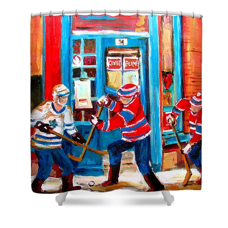 Wilenskys Shower Curtain featuring the painting Hockey Sticks In Action by Carole Spandau
