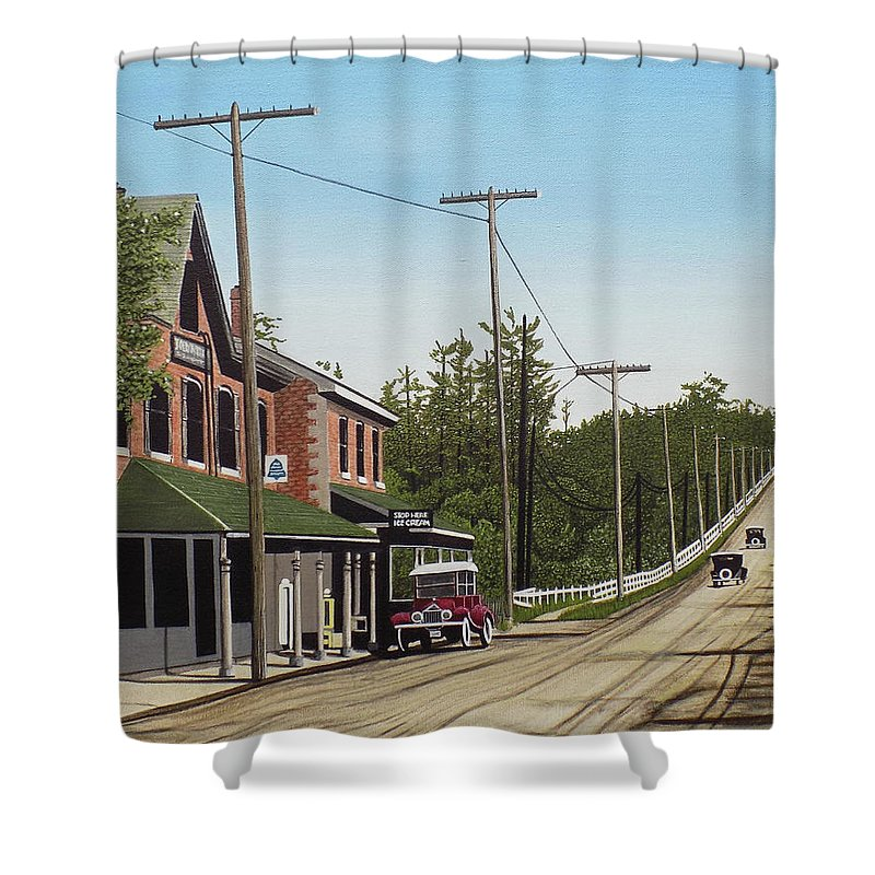 Streetscapes Shower Curtain featuring the painting Hoggs Hollow Toronto 1920 by Kenneth M Kirsch