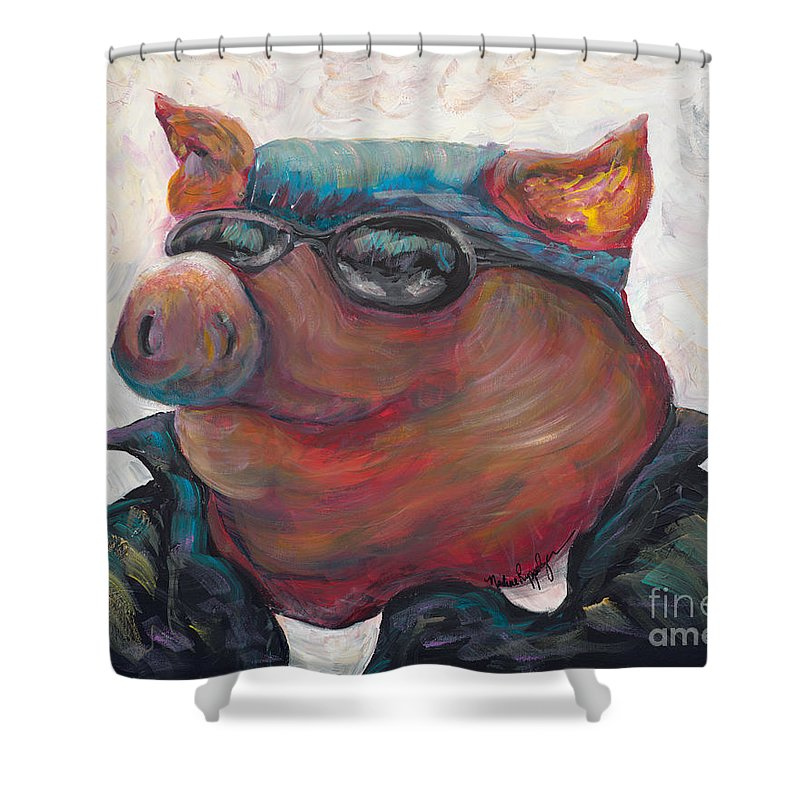 Hog Shower Curtain featuring the painting Hogley Davidson by Nadine Rippelmeyer