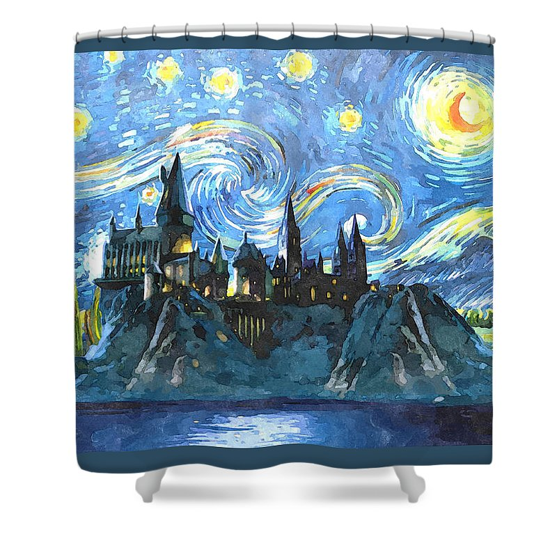 Harry Potter Art Shower Curtain Featuring The Painting Starry Night By Midex Planet