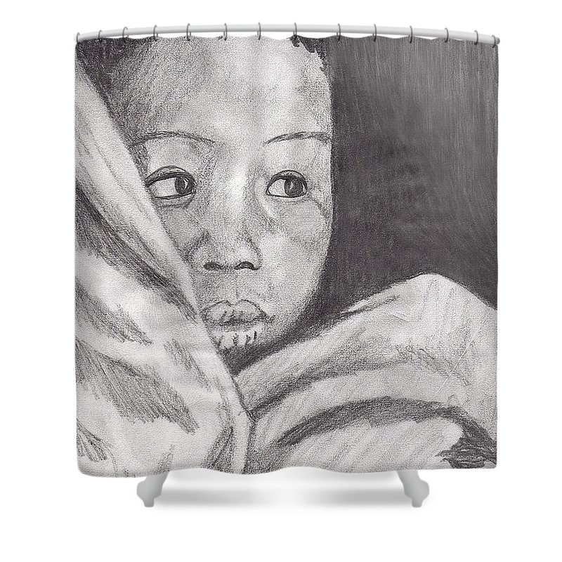 Child Shower Curtain featuring the drawing Hold Me Mom by Jean Haynes