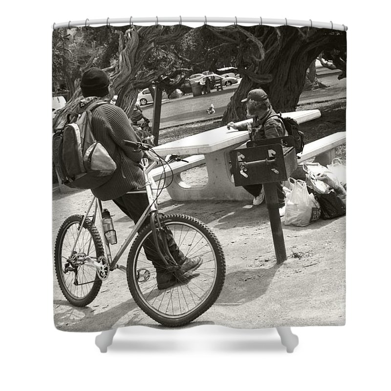 Homeless Shower Curtain featuring the photograph Holding Court by Heather Kirk