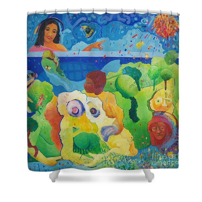 Human Relationships Shower Curtain featuring the painting Holding Lifes Illusion by Richard Heley