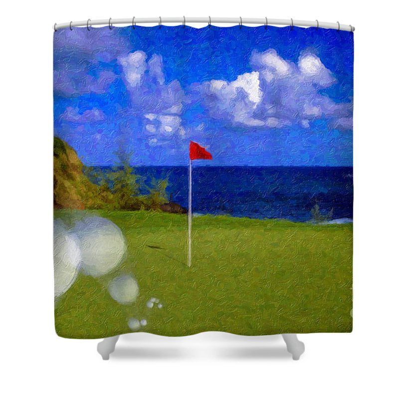 Hole In One 18th Green Ball Flag Green Ocean Palm Trees Shower Curtain featuring the photograph Fantastic 18th Green by David Zanzinger