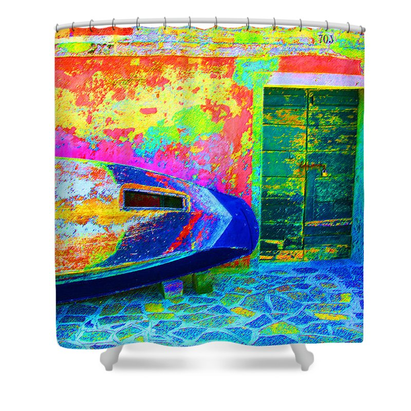 Digital Pastel Shower Curtain featuring the digital art Hole In The Boat by Donna Corless