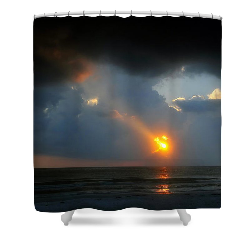 Beach Shower Curtain featuring the photograph Hole In The Gulf by David Lee Thompson