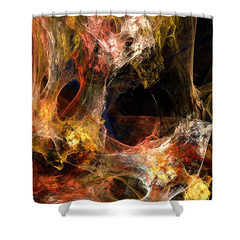 Abstract Shower Curtain featuring the digital art Holes by Ruth Palmer