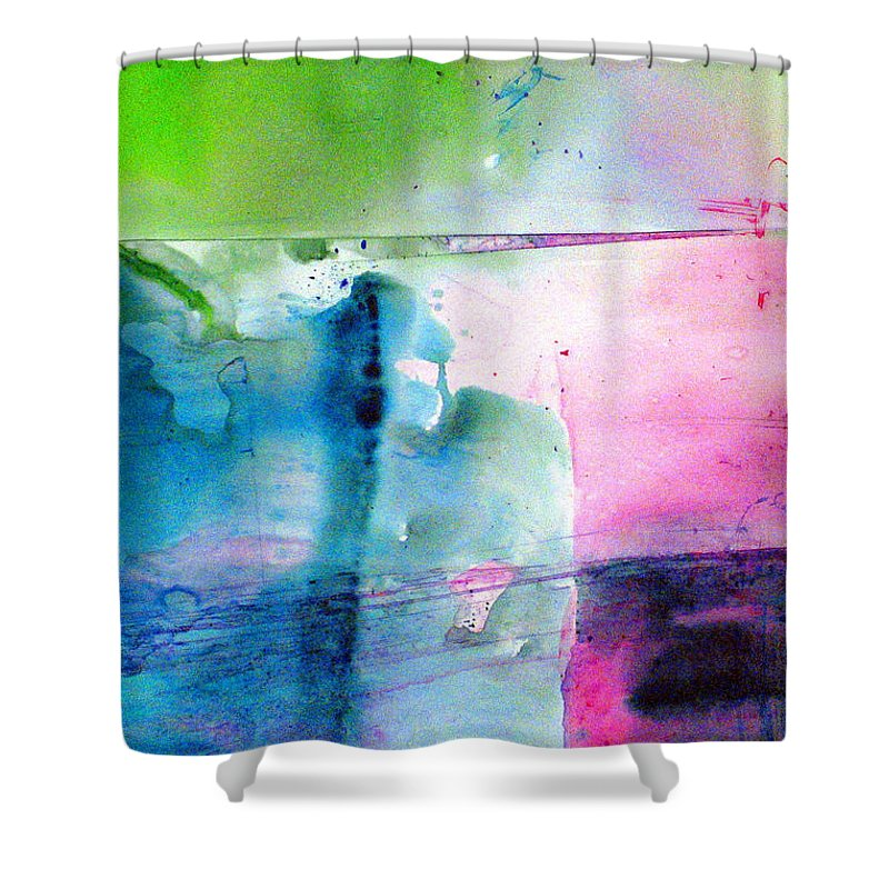 Abstract Shower Curtain featuring the painting Holey Boulder by Janice Nabors Raiteri