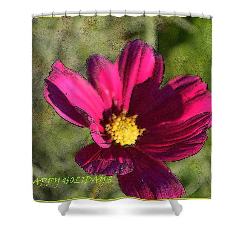 Happy Holiday Shower Curtain featuring the digital art Holiday Art by Sonali Gangane
