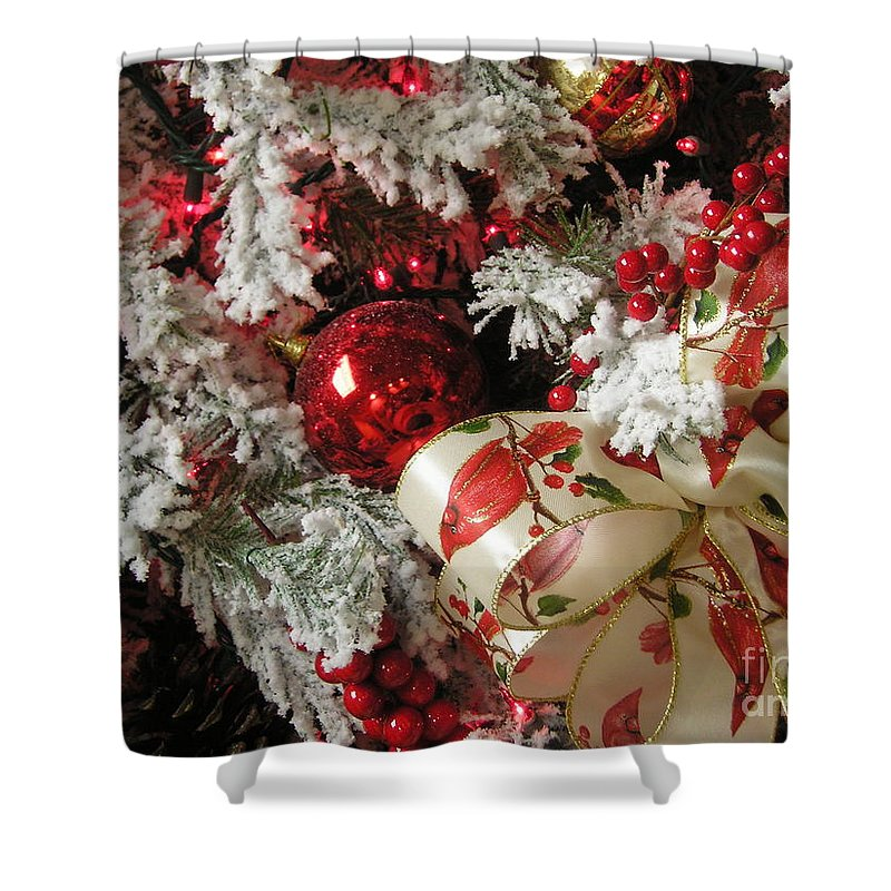 Tree Shower Curtain featuring the photograph Holiday Cheer I by Maria Bonnier-Perez