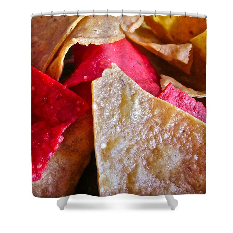 Photograph Of Chips Shower Curtain featuring the photograph Holiday Chips by Gwyn Newcombe