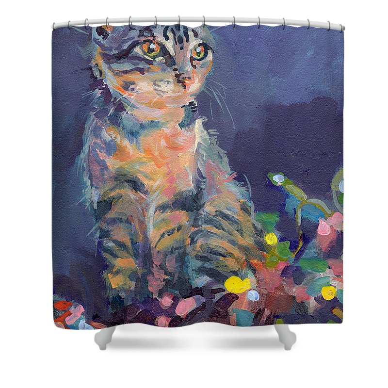 Gray Tabby Shower Curtain featuring the painting Holiday Lights by Kimberly Santini
