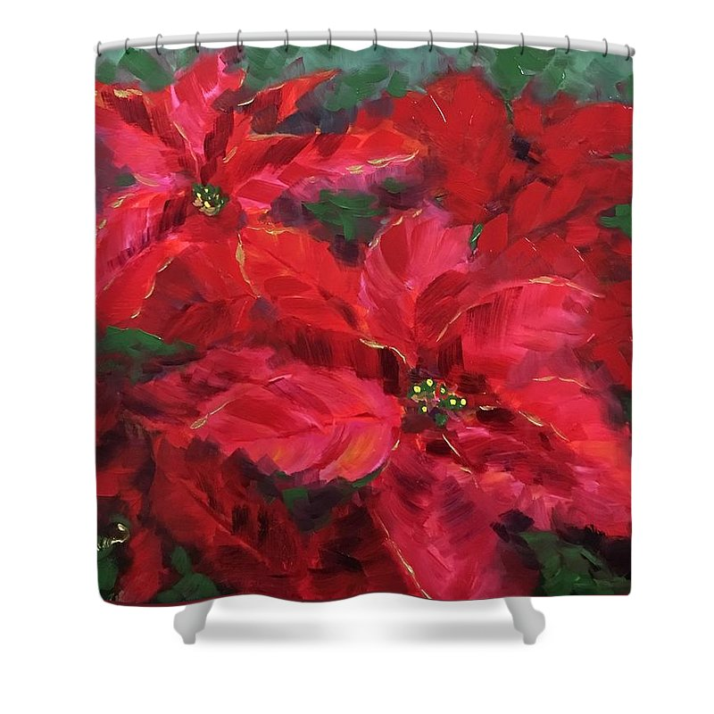 Poinsetta Shower Curtain featuring the painting Holiday by Nancy Breiman