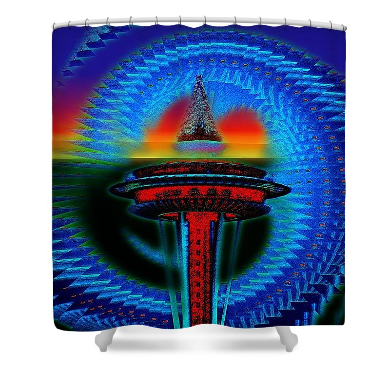 Seattle Shower Curtain featuring the digital art Holiday Needle Illusion by Tim Allen