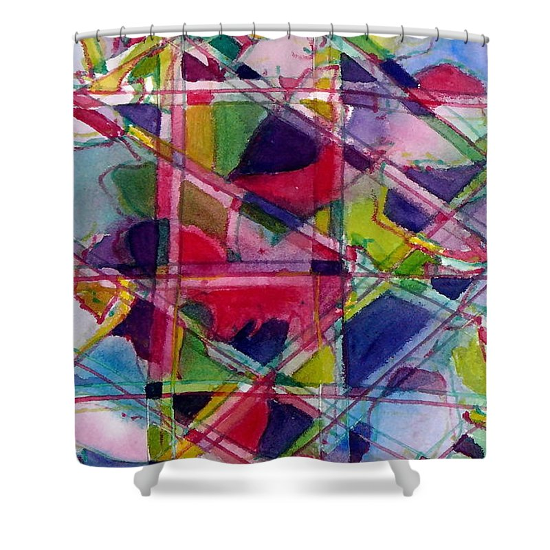 Abstract Shower Curtain featuring the painting Holiday Rush by Jan Bennicoff