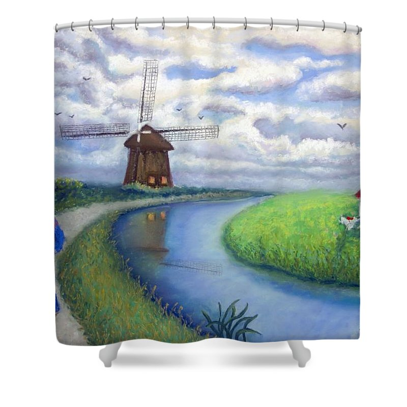 Biking Shower Curtain featuring the painting Holland Windmill Bike Path by Minaz Jantz