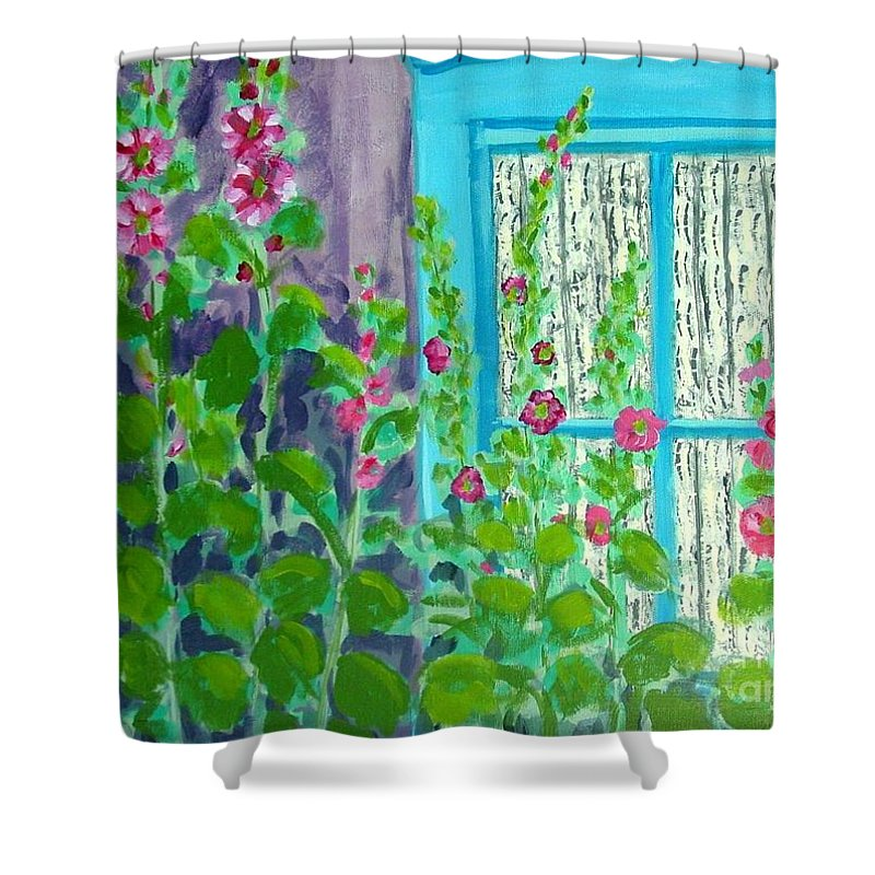 Hollyhocks Shower Curtain featuring the painting Hollyhock Surprise by Laurie Morgan