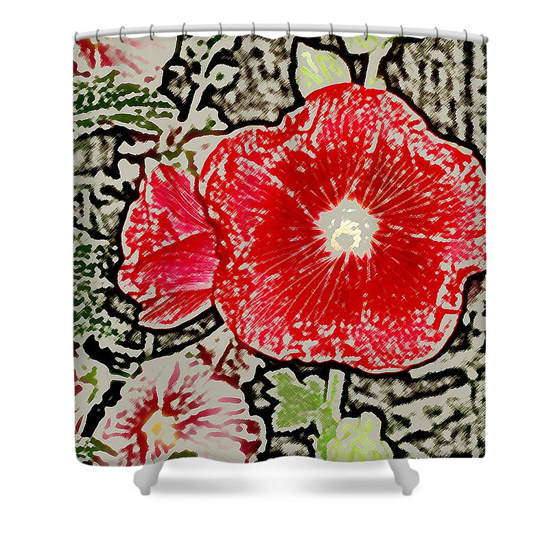 Flower Shower Curtain featuring the photograph Hollyhock by Wayne Potrafka
