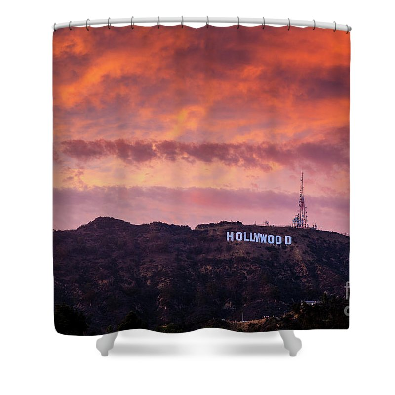 Hollywood Shower Curtain featuring the photograph Hollywood Sign At Sunset by Konstantin Sutyagin
