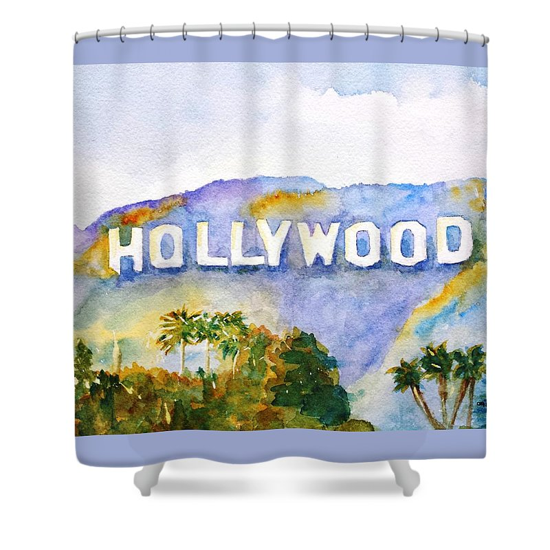 Sign Shower Curtain Featuring The Painting Hollywood California By Carlin Blahnik CarlinArtWatercolor