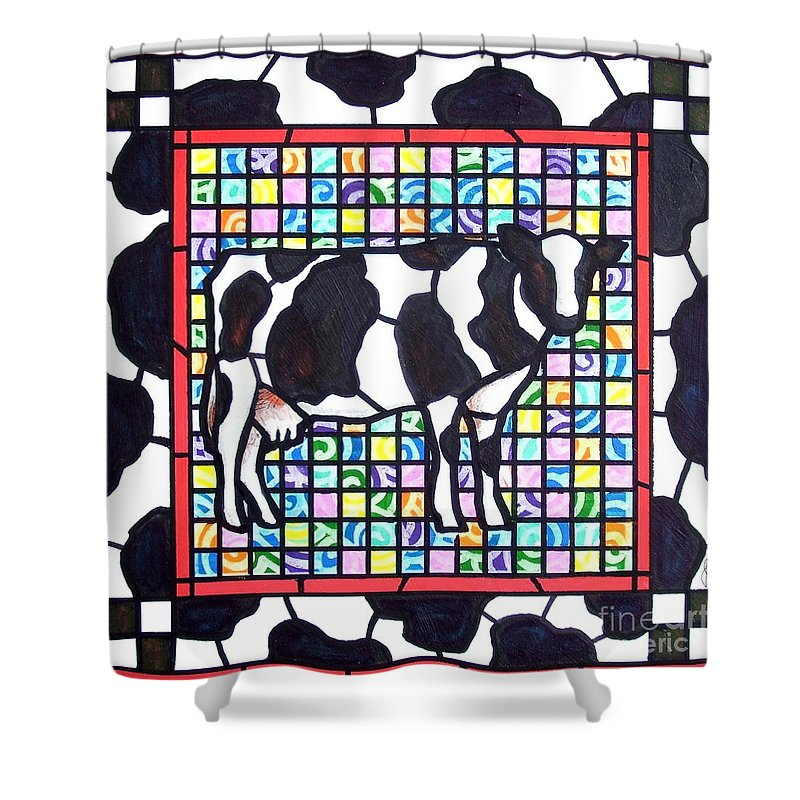Cattke Shower Curtain featuring the painting Holstein 3 by Jim Harris