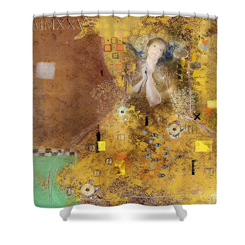 Gold Shower Curtain Featuring The Photograph Homage To Gustav Klimt By Dray Van Beeck