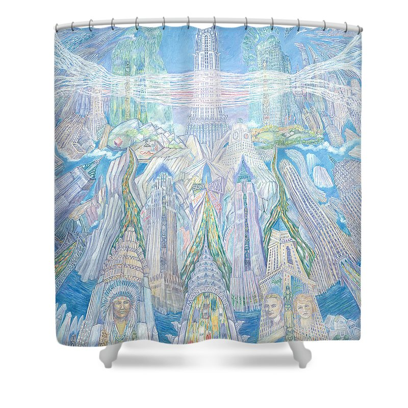 New York Cityscape Shower Curtain featuring the painting Homage To New York And The Chrysler Building by Patricia Buckley
