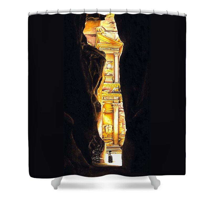 Bellydancer Shower Curtain featuring the painting Homage to Petra by Richard Young