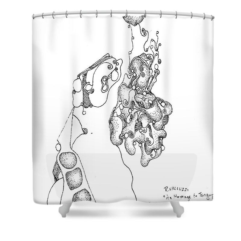 Surrealism Shower Curtain featuring the drawing Homage To Tanguy by Regina Valluzzi