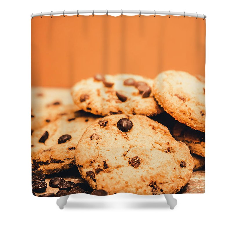 Chocolate Shower Curtain featuring the photograph Home Baked Chocolate Biscuits by Jorgo Photography - Wall Art Gallery