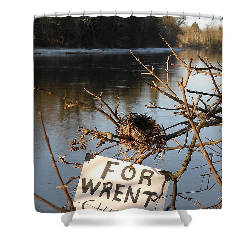 Bird Shower Curtain featuring the photograph Home By Water For Wrent Cheep by Kent Lorentzen
