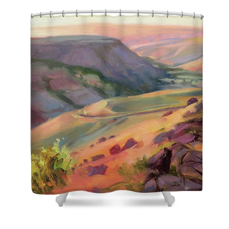 Country Shower Curtain featuring the painting Home Country by Steve Henderson