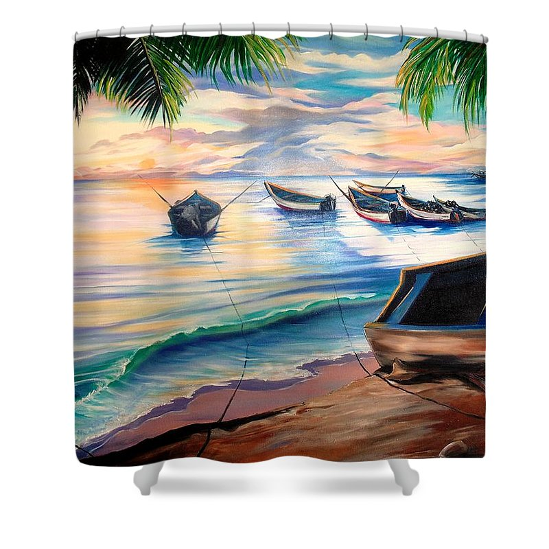 Ocean Painting Caribbean Painting Seascape Painting Beach Painting Fishing Boats Painting Sunset Painting Blue Palm Trees Fisherman Trinidad And Tobago Painting Tropical Painting Shower Curtain featuring the painting Home From The Sea by Karin Dawn Kelshall- Best