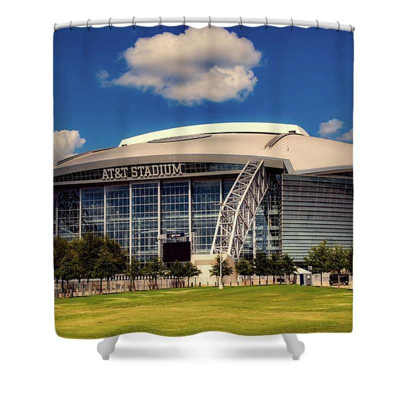 At&t Stadium Shower Curtain featuring the photograph Home Of The Dallas Cowboys by Mountain Dreams