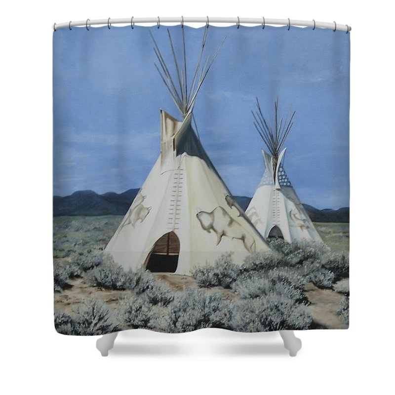 Art Shower Curtain featuring the painting Home On The Range by Mary Rogers