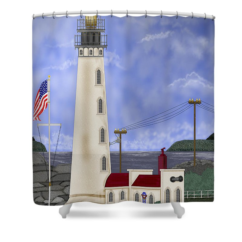 Lighthouse Shower Curtain featuring the painting Home Port by Anne Norskog