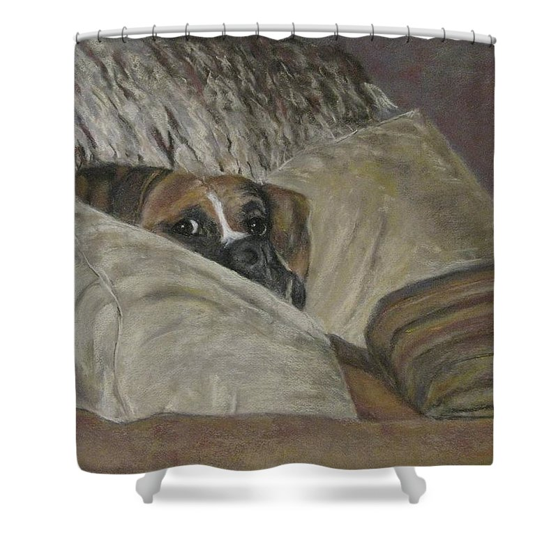 Boxers Shower Curtain featuring the painting Home So Soon by Elizabeth Ellis