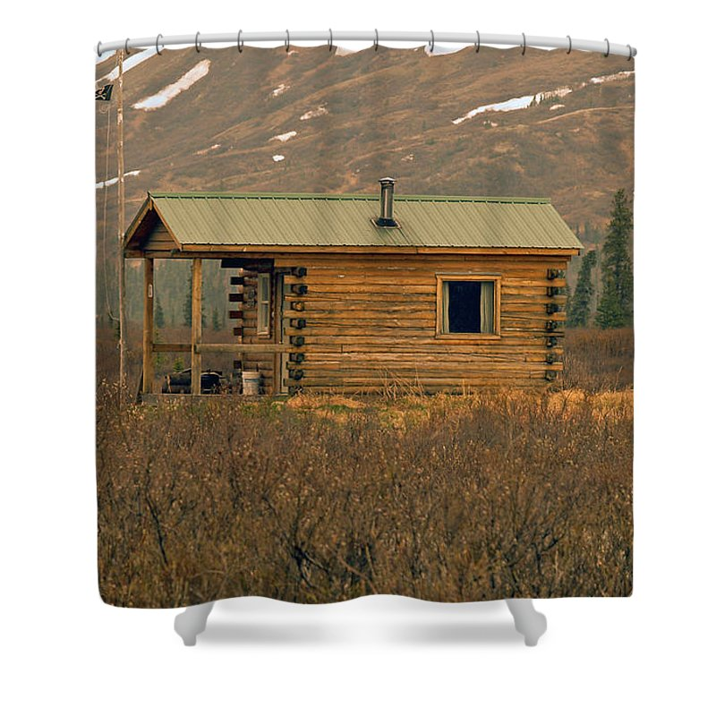 Log Cabin Shower Curtain featuring the photograph Home Sweet Fishing Home In Alaska by Denise McAllister