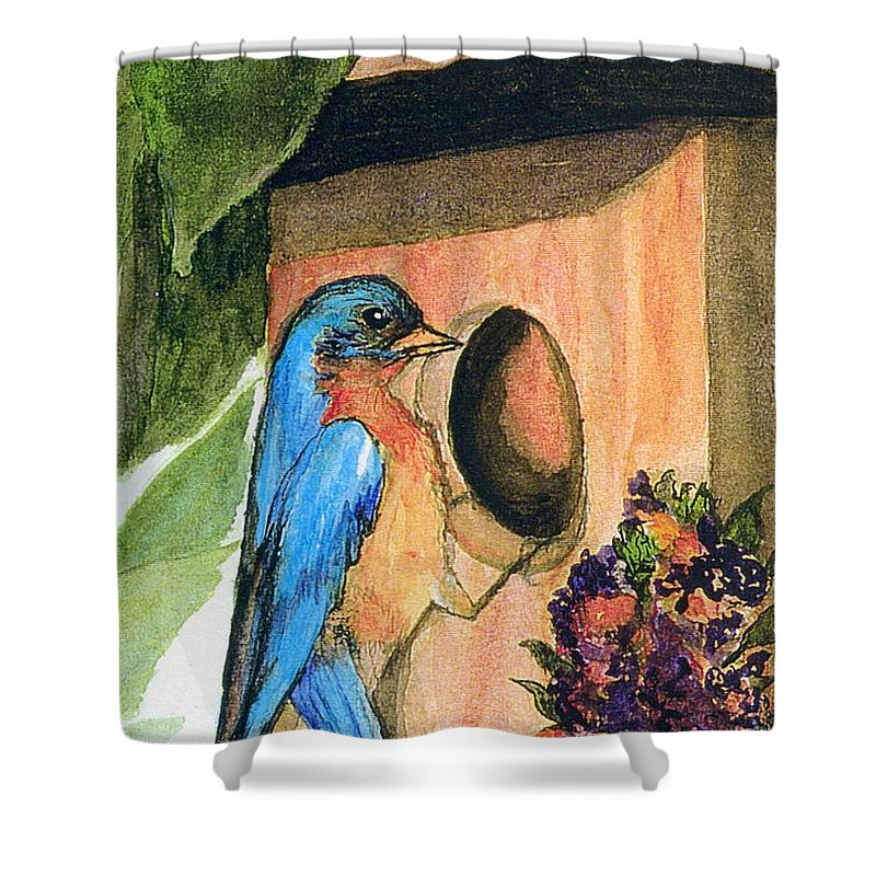 Bluebirds Shower Curtain featuring the painting Home Sweet Home by Gail Kirtz