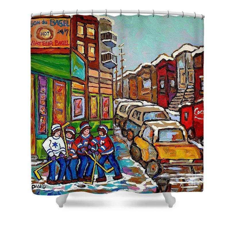 St.viateur Bagel Shower Curtain featuring the painting Home Town Painting St Viateur Bagel Street Scene Coca Cola Truck Montreal 375 Carole Spandau Art   by Carole Spandau