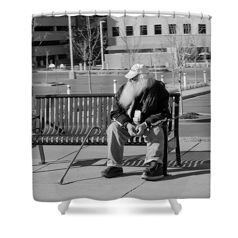 Portrait Shower Curtain featuring the photograph Homeless Man by Angus Hooper Iii