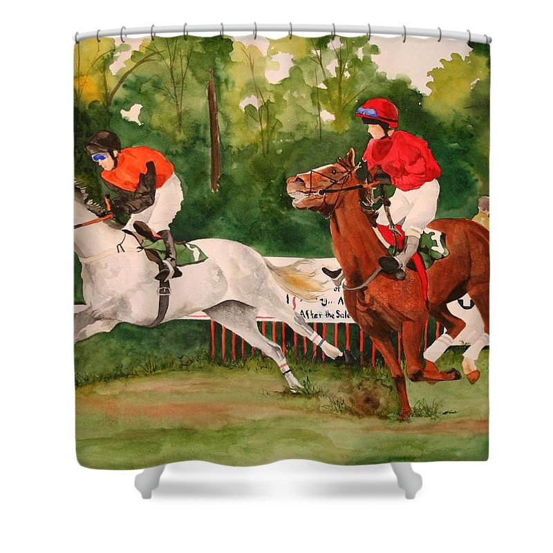 Racing Shower Curtain featuring the painting Homestretch by Jean Blackmer