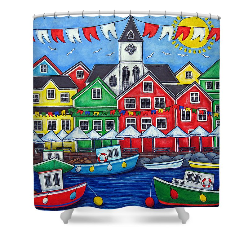 Boats Canada Colorful Docks Festival Fishing Flags Green Harbor Harbour Shower Curtain featuring the painting Hometown Festival by Lisa Lorenz
