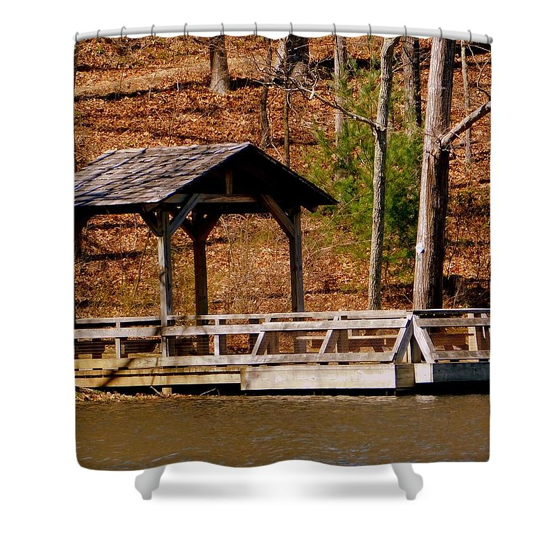 Shelter Shower Curtain featuring the photograph Hometown Series - Sherando Lake -2 by Arlane Crump
