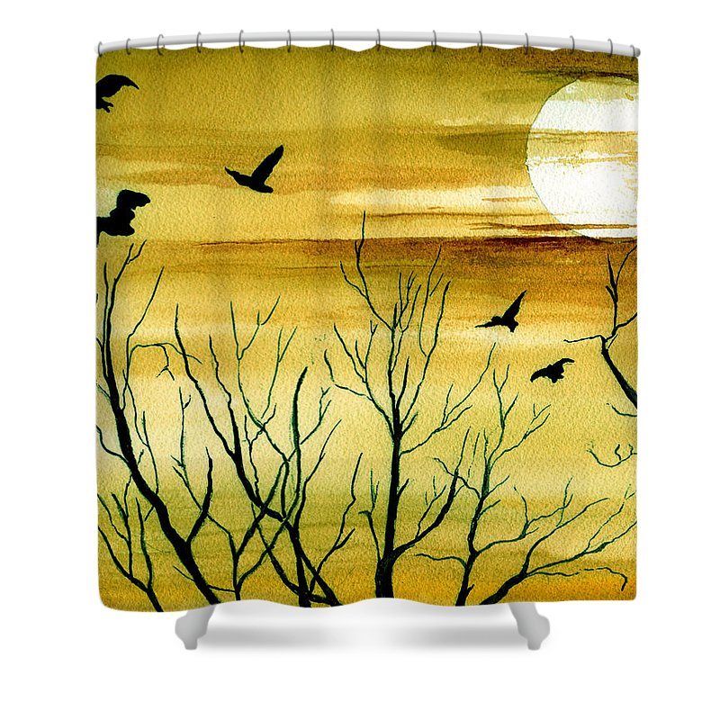 Landscape Watercolor Birds Ravens Crows Trees Sun Sunset Sky Clouds Shower Curtain featuring the painting Homeward by Brenda Owen