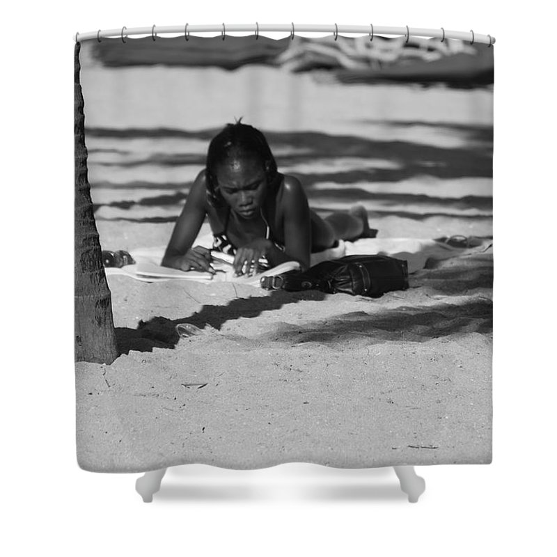 Black And White Shower Curtain featuring the photograph Homework At The Hollywood Beach by Rob Hans